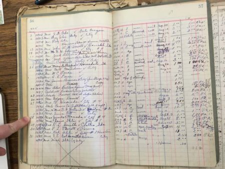 A page from the 1935 Ledger from the Snodgrass Picture Shop; the finger is pointed to the entry for negative #14924