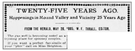 1885 notice reprinted in the Mound Valley newspaper in 1910