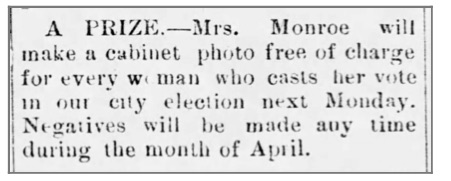 Ad in the Mound Valley Herald, April 3, 1891