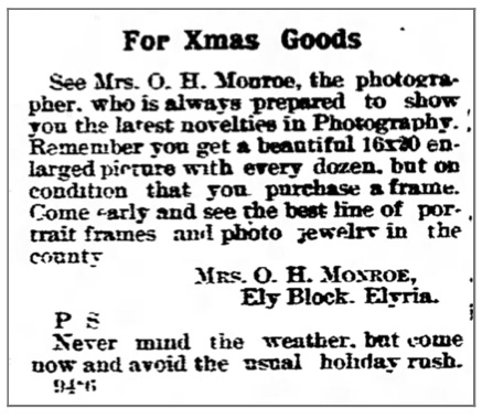 Ad for photo novelities that are available at Mrs. O.H. Monroe's studio (from The Chronicle Telegram (Elyria, Ohio, October 28, 1902))