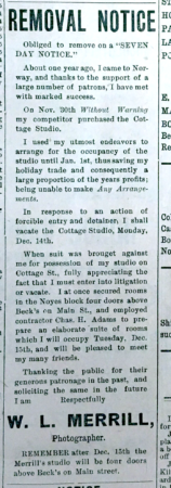 Wiggins Merrill notice, Osford County Advertiser, 12-11-1903 (same ad repeated throughout December 1903)
