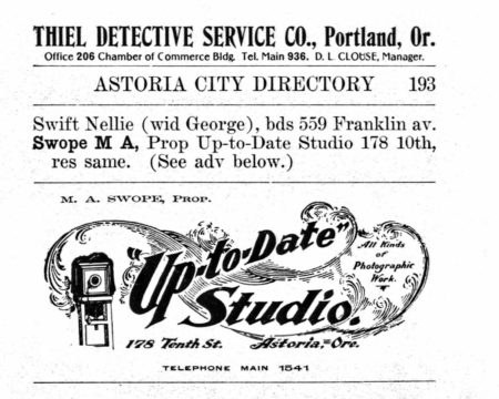 1904 Astoria Directory: Ad for M. A. Swope's Up-to-Date Studio.