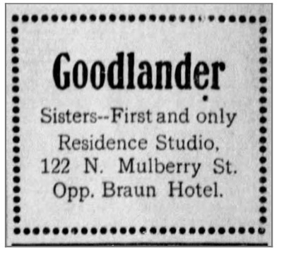 Ad for the Goodlander Sisters Studiom, The Star Press, Oct 30, 1904