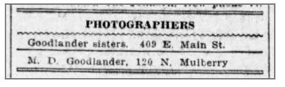 Notices for the Goodlander Sisters studio and M.D. Goodlander studio, The Star Press, Nov. 5, 1905