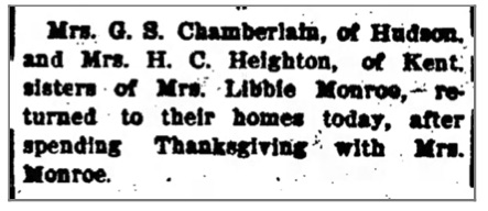 Social notice showing Mrs. Monroe's family called her Libby, not Ollie, (from The Chronicle Telegram (Elyria, Ohio, Decmeber 1, 1906))