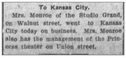 Mention of Mrs. O.H. Monroe's photo studio and movie theatre (from Coffeyville Daily Herald (Coffeyville, Kansas), December 28, 1910)