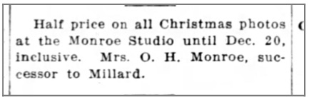 Notice for Christmas special at Mrs. O. H> Monroe's photo gasllery (from the Morning Examiner (Bartlesville, Oklahoma), December 13, 1914)