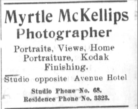 Myrtle McKellips ad, Beloit Daily Call newspaper, 11/6/1914