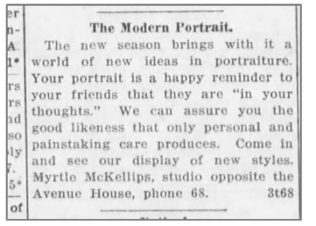 Sample newspaper notice for Myrtle McKellips's photography studio, Beloit Daily Call, 1914