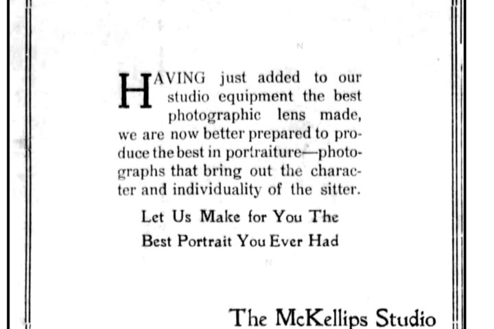 The McKellips Studio ad, Beloit Daily Call, 08/02/1915. Both Mary and Myrtle now work there.