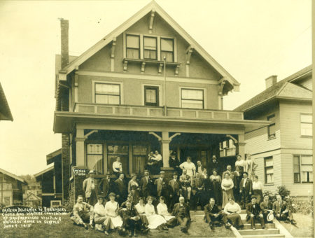 Eastern delegates to Bartender, Cooks and Waiters Convention at San Francisco visiting waitress' home in Seattle June 9, 1915 , [Photo by Kneisle; Photos courtesy Washington State Historical Society]