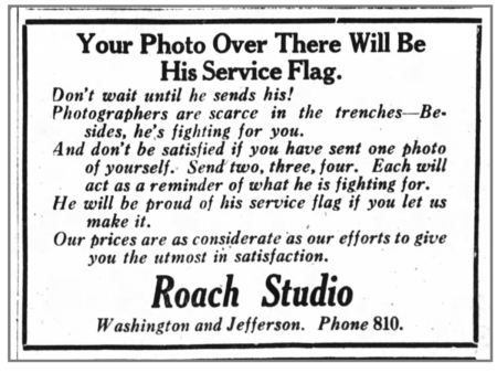 Soldier-themed Ad for the Roach Studio, Huntington Herald, October 22, 1918