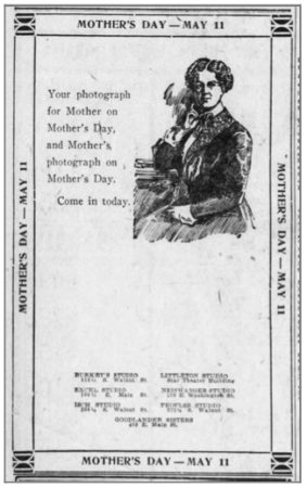 Joint ad by all the studios in Muncie, Indiana, The Star Press, May 4, 1919