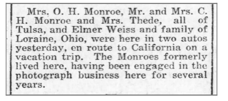 Notice for the Monroe family and friends road trip stopping in Coffeyville, Kansas (from the Coffeyville Daily Journal (Coffeyville, Kansas), July 29, 1919)