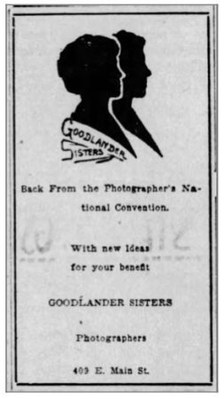 Muncie Evening Press Mon Aug 25, 1919 Goodlander Sisters Ad