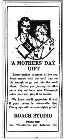 Mother's Day-themed Ad for the Roach Studio, Huntington Herald, May 1, 1921