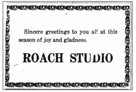 Sincere Greetings from the Roach Studio, Huntington Press, December 25, 1921