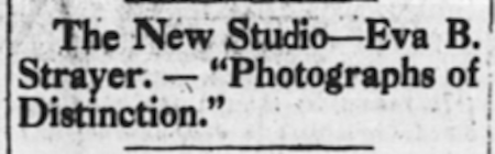 1922: Early Ad for the Eva B. Strayer Studio (Huntington Herald)