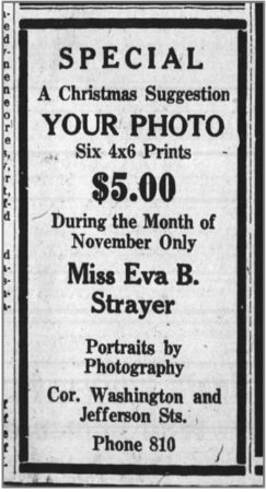 1927 Ad for the Eva B. Strayer Studio (Huntington Herald)