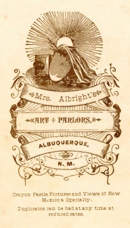 Back of Mrs. Albright's Cabinet Cards