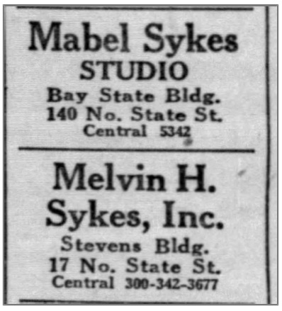 Mabel and Melvin Sykes competing studio ad, side by side in the newspaper Chicago Tribune, March 6, 1921