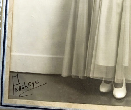 Detail of Peasleys name/signature on the photo