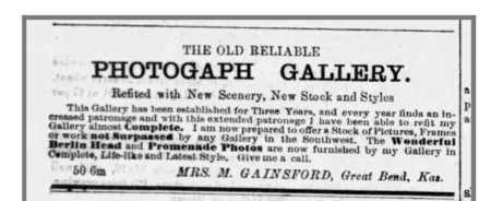 Mrs. Gainsford ad, Great Bend Register, April 1877