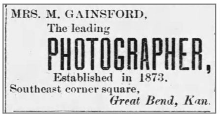 Mrs. Gainsford ad, Great Bend Register, Dec 31, 1885