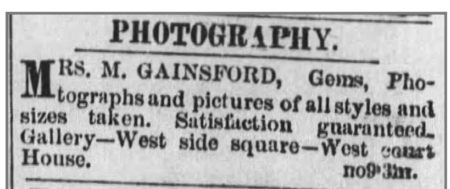 Mrs. Gainsford ad, Great Bend Register, July 2, 1874