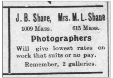 Newspaper ad for J.B. Shane and Mrs. M.L. Shane