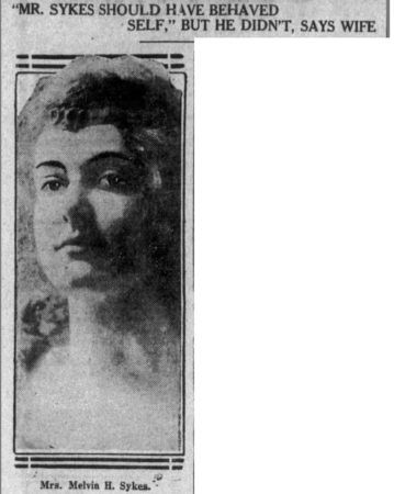 photo of Mabel sykes and headline about her husband not behaving himself. Leader Telegram February 15, 1914