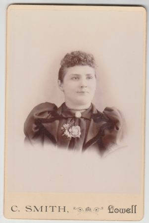 Miss C Smith Cabinet Card - fancy style back- (Mcintyre-Culy collection)