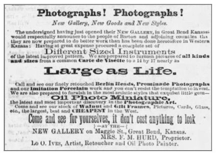 Ad for Mrs. F. M. Hurd's new photograph gallery, he Great Bend Register , Thu, Apr 5, 1877