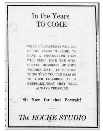 """Wedding photo memory"" -Roche Studio Ad - Blue Rapids Times - April-16-1925"