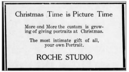 """Christmas Time is Picture Time"" - Roche Studio Ad - Blue Rapids Times- November-13-1924"