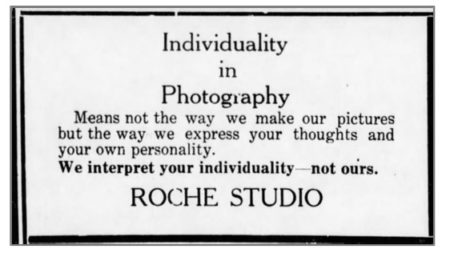 """Individuality in Photography"" - Roche Studio Ad - January-22-1925"