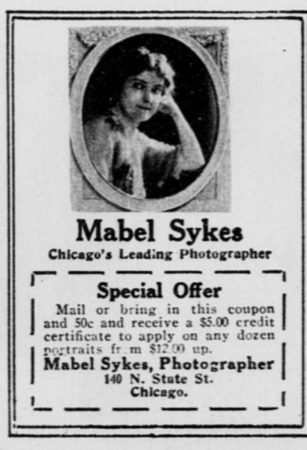 Ad for Mabel Sykes studio, Chicago Examiner, Jan 9, 1916