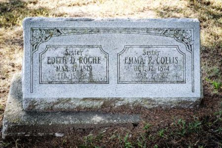 Headstone for Edith D. (Daisy) Roche and Emma (Roche) Collis (photo by Tom Parker)