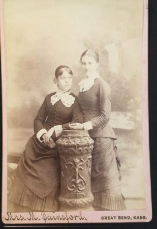 Cabinet card with 2 women by Mrs. M. Gainsford (McIntyre-Culy Collection)