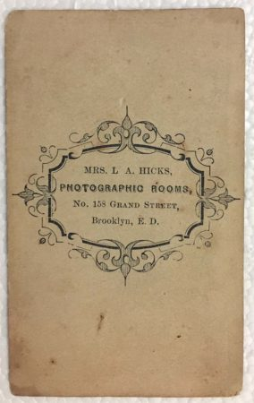 Back of Hand-tinted CDV by Mrs. L.A. Hicks (Courtesy McIntyre-Culy Collection)
