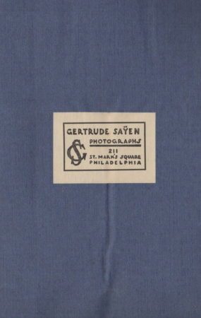 Back cover of 1925 photo book for Herbert Holcombe; photos by Gertrude Sayen (Photo by Gertrude Sayen, 1925 (Mcintyre-Culy collection)