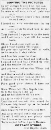 1898 Blue Rapids Times Miller's Cottage Studio ad/poem
