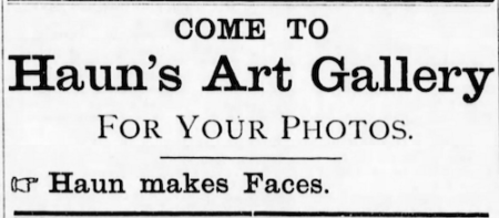 1898 Blue Rapids Times ad for Haun's Art Gallery