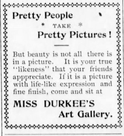 1902 Blue Rapids Times Ad for Miss Durkee's Art Gallery