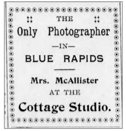 August 1902 Blue Rapids Times ad for Mrs. McAllister