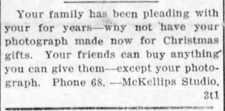 Notice for the McKellips Studio in the Beloit Daily Call, 10/26/1917