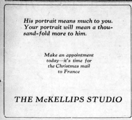 Ad for the McKellips Studio during WWI, Beloit Daily Call newspaper, 10/17/1918