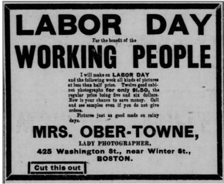 Mrs. Ober-Towne Labor Day ad, Boston Post, September 3, 1894