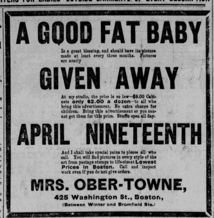 A Good Fat Baby ad, Mrs. Ober-Towne, Boston Evening Post, April 18, 1894