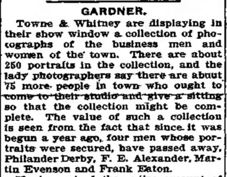 Notice int he Gardner-Fitchberg Sentinel for Towne & Whitney photo exhibition, October 22, 1902